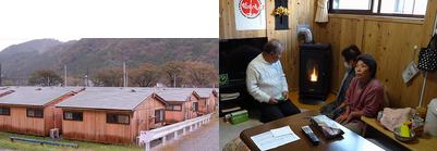 地元材を使った木造仮設住宅です/本プロジェクトで設置したペレットストーブ