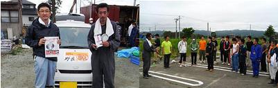 江湖代表(右)と当社スタッフ/中村学園三陽高等学校のみなさま